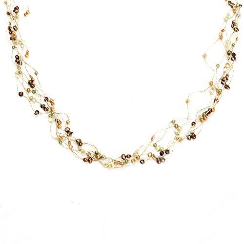 CHUVORA Multi-Colored Cultured Freshwater Pearl Multi Strand Silk Thread Long Necklace 35