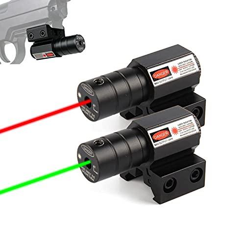 HAOXUAN Mira de Punto Rojo y Verde, Rango de mira táctico Ajustable, mira de Rifle para Pistola de Aire Weaver Picatinny de 20 mm / 11 mm, Punto Rojo + Punto Verde