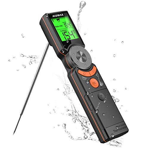 AidMax Digital Fleischthermometer Instant Read Grillthermometer Küchenthermometer, Lange Probe Bratenthermometer, 2s Sofortiges Auslesen für Küche, Grill, BBQ, Steak, Türkei, Süßigkeiten, Milch