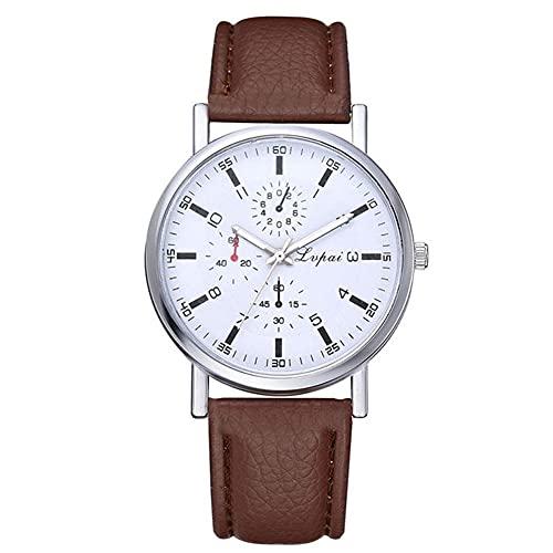 GJHBFUK Quarz Armbanduhr Modische Weiche Schlange Gedruckt Pu-Leder Armband Mann Watch 3-Fenster Quarz Armbanduhr Braun