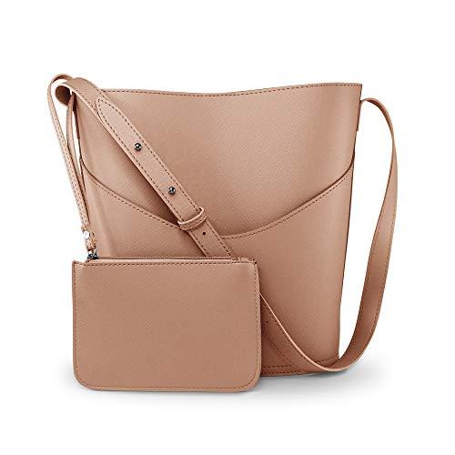 Oct17 Women Tote Bucket Bag, Faux Leather Shoulder Handbag, Fashion Ladies Purse Top Handle Satchel Crossbody Bags (Peach)