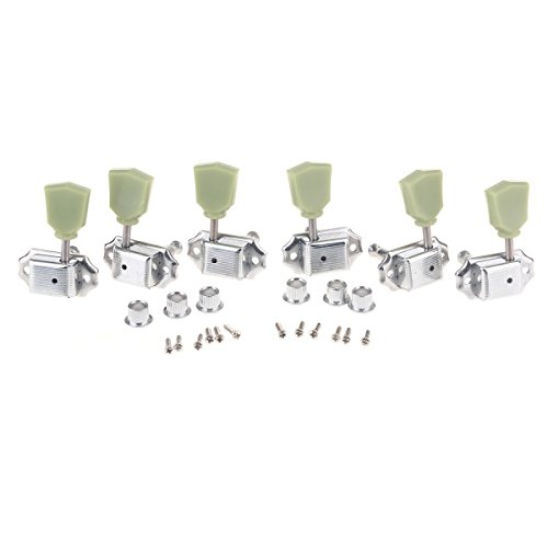 Musiclily 3R3L Vintage Guitar Tuners Machine Heads Tuning Keys Pegs Set for Gibson Epiphone Les Paul Style Guitar Parts, Chrome with Keystone Button