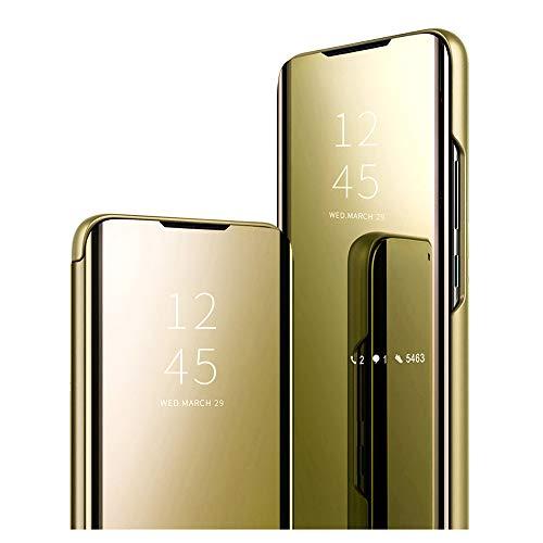 Samsung Galaxy A31/M40S/A51 2020 Flip-Tasche - Premium-Gefühl Clear View Flip Hülle Spiegel Klappbar Hülle Cover Handyhülle Etui Zubehör Standfunktion für Galaxy A31/M40S/A51 2020 Schutzhüllen-Gold