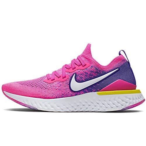 Nike  Women's  Epic React Flyknit Running Shoe, Fuchsia/White, 9.5