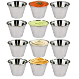 Kosma Set of 12 Stainless Steel Condiment Cups | Pots Dish | Sauce Cups | Sauce Salad Dressing Cups - 2.5 oz (70 ml)