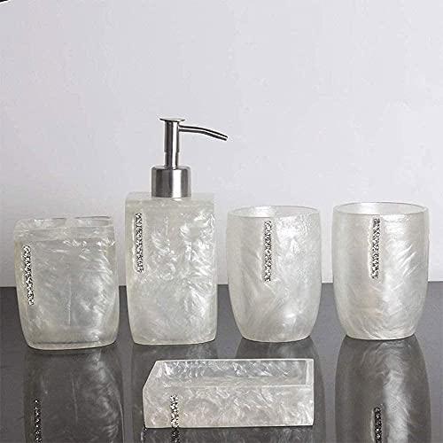 Conjunto de accesorios de baño Conjunto de la bomba de jabón de mano líquida de 5 piezas El conjunto de accesorios de baño de resina incluye un dispensador de jabón o longa del cepillo de dientes, tam