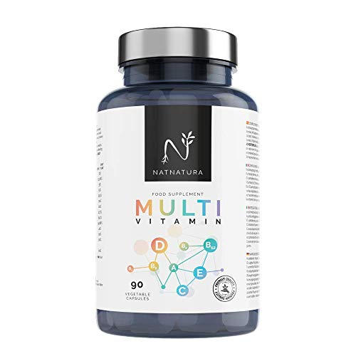 Multivitamínico para hombre y mujer, a base de vitaminas y minerales. Reduce el cansancio, la fatiga y refuerza el sistema inmunitario. 90 cápsulas vegetales.