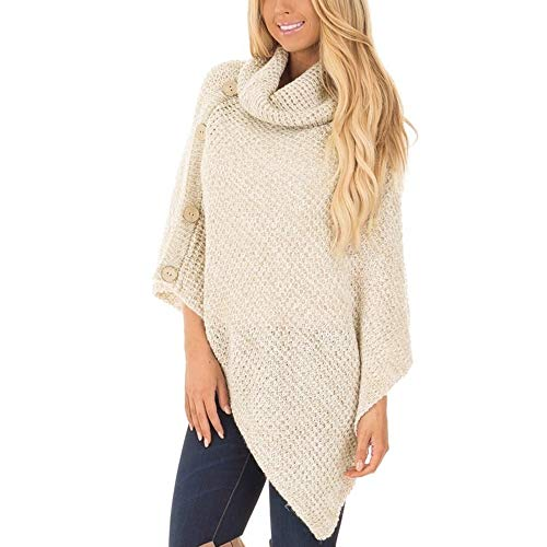 POPLY Sezonowa wyprzedaż wram sweter dla kobiet, damski dzianinowy żółw golf ponczo z guzikiem nieregularny brzeg golf sweter swetry, rozmiar UK 8-16 khaki