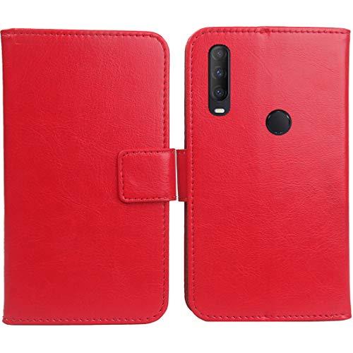 """Mengtu TPU Silicone Housse Coque pour SFR Altice S43 6.22"""" PU Cuir Etui Leather Case Cover Flip Cas Couverture Protecteur Portefeuille Book Wallet (Rouge)"""