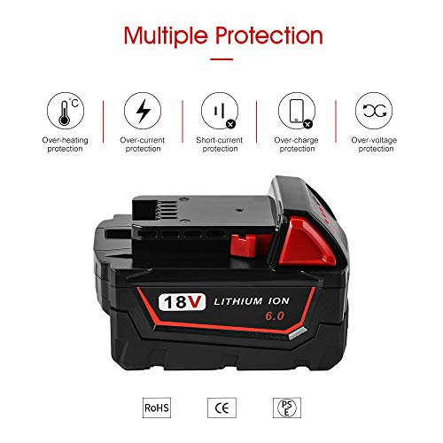 Jialitt M18 6.0Ah Battery Replacement for Milwaikee 18V Cordless Power Tool Lithium Battery M18 48-11-1815 48-11-1820 48-11-1822 48-11-1840 48-11-1841 48-11-1850 Battery
