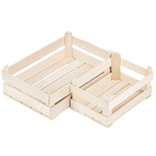 2 Holzkisten in 2 Größen Ministiegen Holzstiegen Holz natur Kaufladenstiege