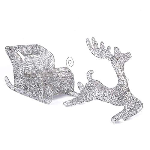 YWZQ Lights Decorations Light Up LED Reindeer with Sleigh Iron Frame Indoor Outdoor,60cm-Silver