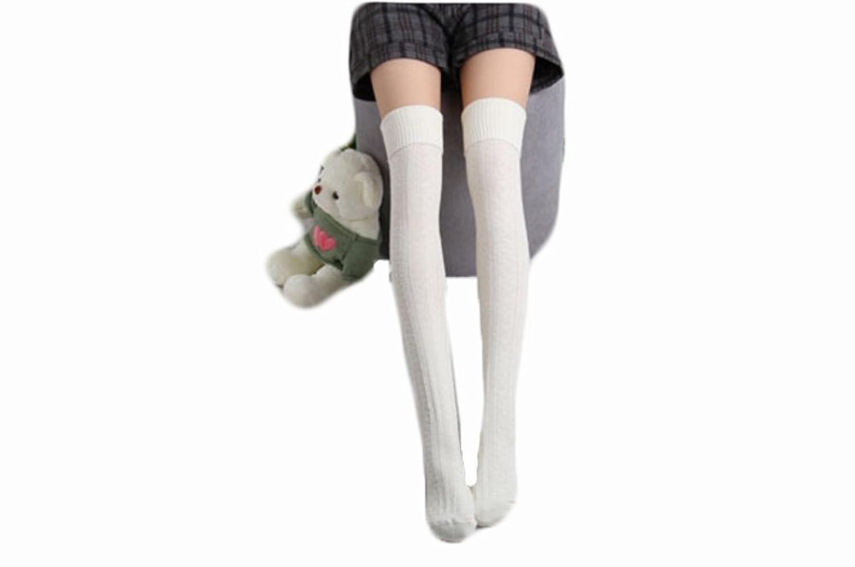 (チ-ンスン) Qingsun上品 柔らか綿製 厚い ニーハイ サイハイソックス 美脚効果 針編みソックス 秋冬