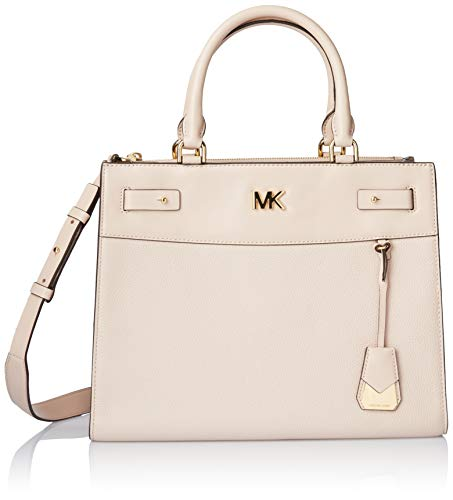 """Soft Pink Pebble Leather with Smooth Leather Trim , Interior Lining Polyester Magnetic-Snap Closure , Gold-Tone exterior hardware, 1 Back zip compartment & 1 Front slip compartment 1 interior zip pocket & 8 slip pockets , 5.5 """" L Double Handles; 17.5..."""
