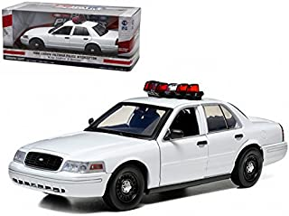 StarSun Depot Ford Crown Victoria Unmarked Plain White Police Car Interceptor With Lights and Sounds 1/18 Model Car by Greenlight