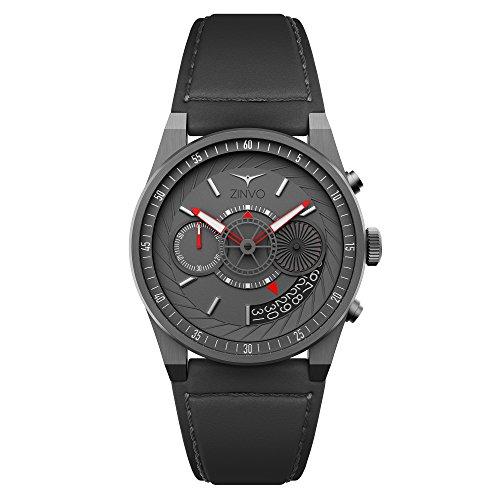 ZINVO Chrono Gunmetal Reloj para hombre con movimiento, correa de piel gris y caja de acero inoxidable gris