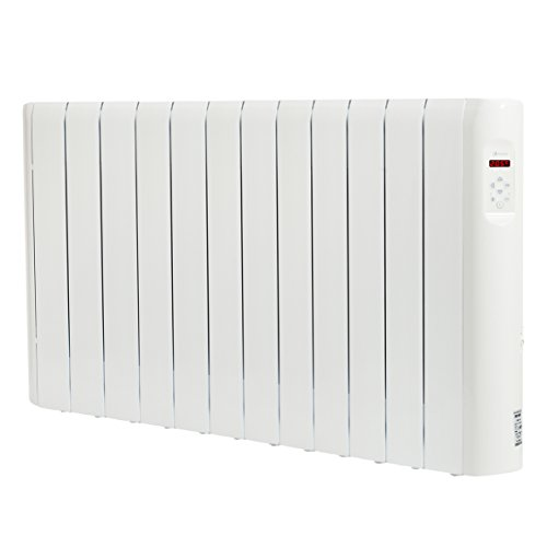 Haverland RC12E - Radiateur électrique à inertie fluide caloporteur, thermostat digital programmable PID, usage idéal 1-6h/jour, pièces de +/- 17-24 m², 1500 W, Blanc