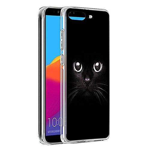 Eouine Huawei Y6 2018 Hülle, Schutzhülle Silikon Transparent mit Muster Motiv Handyhülle  Ultra Dünn] Slim Stoßfest Weich TPU Bumper Case Backcover für Huawei Y6 2018 (Schwarze Katze)