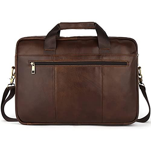 Borsa da uomo in pelle, borsa da uomo in stile retrò, borsa a tracolla in pelle, Caff, Large