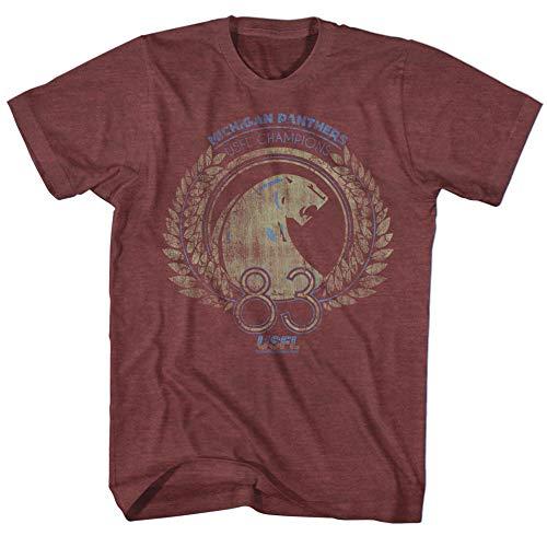 A&E Designs USFL T-Shirt Michigan Panthers 1983 Championship Maroon Tee, Medium