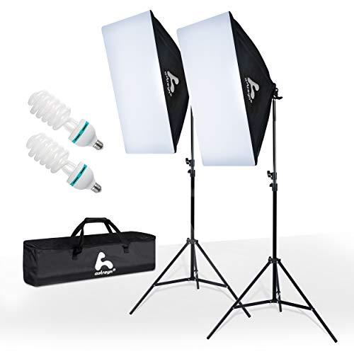 astreyn – Premium Softbox Set – 2X [50x70cm] Studioleuchten – [E27 85W] – [5500K] Tageslicht – Verstellbares Stativ – Wasserdicht – Für Fotostudio, Videoaufnahme, Produktfotografie – Mit Tragetasche