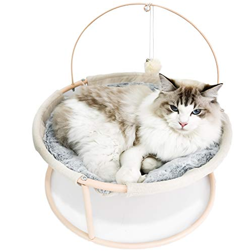 Pet Cat Soft Hammock Bed, Luxury Elevated Pet Bed with Dangling Ball for Cats, Pet Breathable Hanging Cute -Beautiful Swing Nest with Soft Plush Detachable Portable Indoor/Outdoor for Kitties Dogs