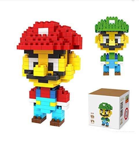 Klycbds 2 Piezas Bloques Super Mario Juego De Bloques De Construcción Mario Luigi Ladrillos Figura LOZ Bloques De Diamantes Juguetes Educativos