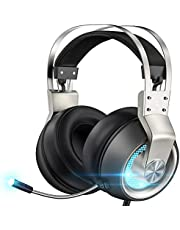 Stereo Gaming Headset for PS4 PC Xbox One PS5 Controller, Noise Cancelling Over Ear Headphones with Mic, LED Light, Bass Surround, Soft Memory Earmuffs for Laptop Mac Nintendo NES Games