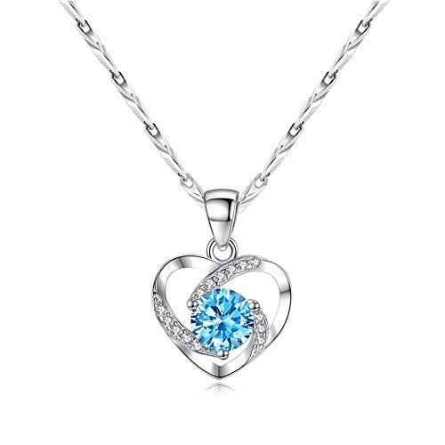 Luzhimx - Collar con forma de corazón, para mujer de plata 999 con colgante 5A de circonita cúbica