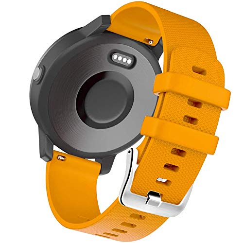 Correa de silicona de repuesto de liberación rápida compatible con Garmin Vivoactive 3 HR Galaxy Active 2 Polar Ignite Forerunner 245 645 Music para Garmin Venu Sq Smart Watch Accesorios (naranja)