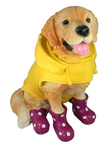 colourliving Golden Retriever Figur mit Gummistiefel und Regenjacke Hundefiguren Deko Garten Gartenfigur Hund witzige Gartendekoration brombeer gelb