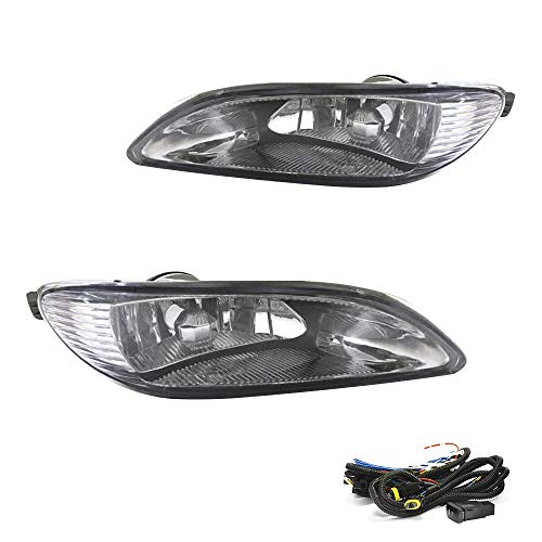 Driving Fog Lights Lamps Replacement for Toyota Camry 2002-2004, Corolla 2005-2008, Solara 2002-2003 with 9006 12V 55W Halogen Bulb & Switch and Wiring Kit 81220-AA011,81210-AA0112 (Clear Lens )
