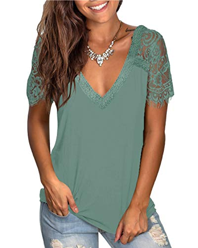 WMZCYXY Women's V Neck Scalloped Lace Tee Tops Short Sleeve T Shirt Casual Summer Blouses (Blue Green,Large)