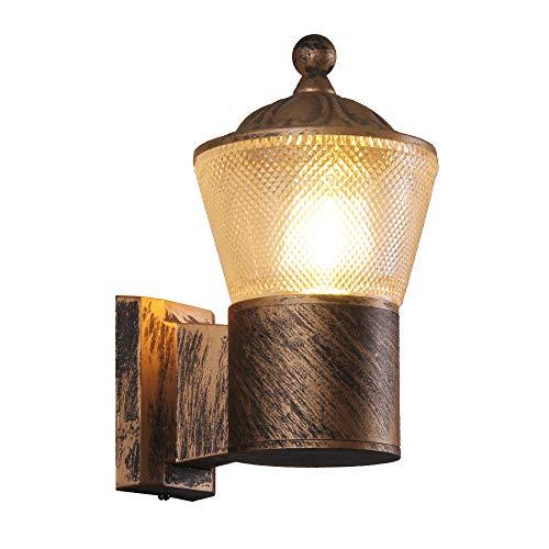 KAYIMAN aplique de pared interior pequeña para exteriores lámpara de pared de latón antiguo apliques pared dormitorio vintage aluminio luz impermeable rusticos IP54 impermeable (con bombilla de 8 W)
