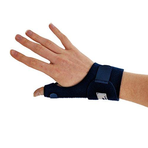 Actesso Neopren Daumenschiene - Daumenbandage bei Schmerzen und Verletzungen, Quervain-Krankheit / Sehnenscheidenentzündung, Sehnenentzündung und Verstauchungen des Daumens. Für Links oder Rechts Erhältlich (Rechts, Blau)