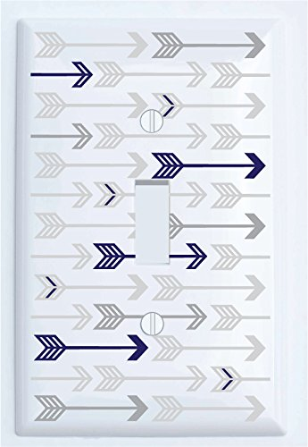 Presto Wall Decals Single Toggle Navy and Grey Arrow Print Light Switch Plate Covers Navy and Grey Woodland Nursery Decor for Baby Boys (Single Toggle)
