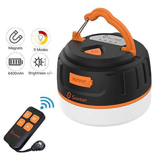 Siivton Camping Lights, LED Tent Light with Remote Control & Power Bank 6400mAh, USB Camping Lanter Rechargeable Ultra Bright LED Emergency Camping Light for Tents