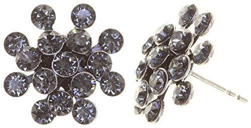 KONPLOTT Magic Fireball Mini Ohrstecker für Damen | Exklusive Designer-Ohrringe mit 32 Swarovski Steinen | Glamouröser Ohrschmuck passend zu jedem Anlass | Handgefertigter Damen-Schmuck | Grau