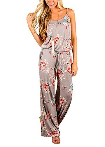 Yidarton Sommer Floral Bedruckte Jumpsuit Damen Halfter ärmellose breite Lange Hosen Jumpsuit Strampler, Khaki, M