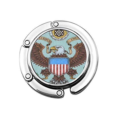 Niedliche Faltbare Geldbörse Kleiderbügel Haken Blaue Dichtung American Eagle Brown Präsidentenstaaten Vereinigte Staaten Handtasche Haken Tischtasche