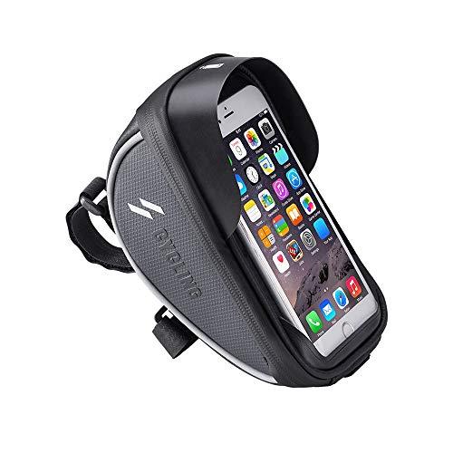 Bolsa de bicicletas Cuadro de la bicicleta a prueba de agua bolsa de manillar de la bici empaqueta con la pantalla táctil del teléfono de los teléfonos adapta por debajo de 6,0 pulgadas resistente al