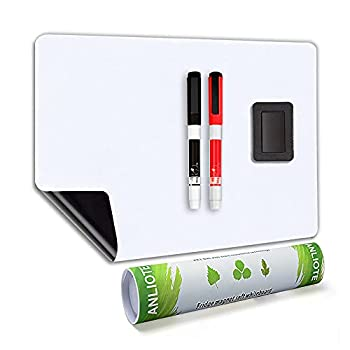 Magnetic Dry Erase Board Fridge White Board Sheet 20x13 -Easy to Write and Clean Flexible Refrigerator Magnet Whiteboard Notepad for Home Kitchen Memo Grocery List 2 Markers and Eraser with Magnets