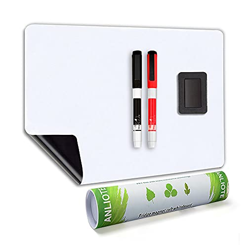 Magnetic Dry Erase Board Fridge White Board Sheet 20x13'-Easy to Write and Clean, Flexible Refrigerator Magnet Whiteboard Notepad for Home Kitchen Memo Grocery List, 2 Markers and Eraser with Magnets