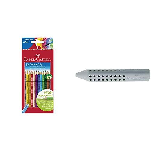 Faber-Castell 112412 - Buntstifte Colour Grip, 12er Kartonetui & 187100 - Dreieckradierer Grip 2001, grau