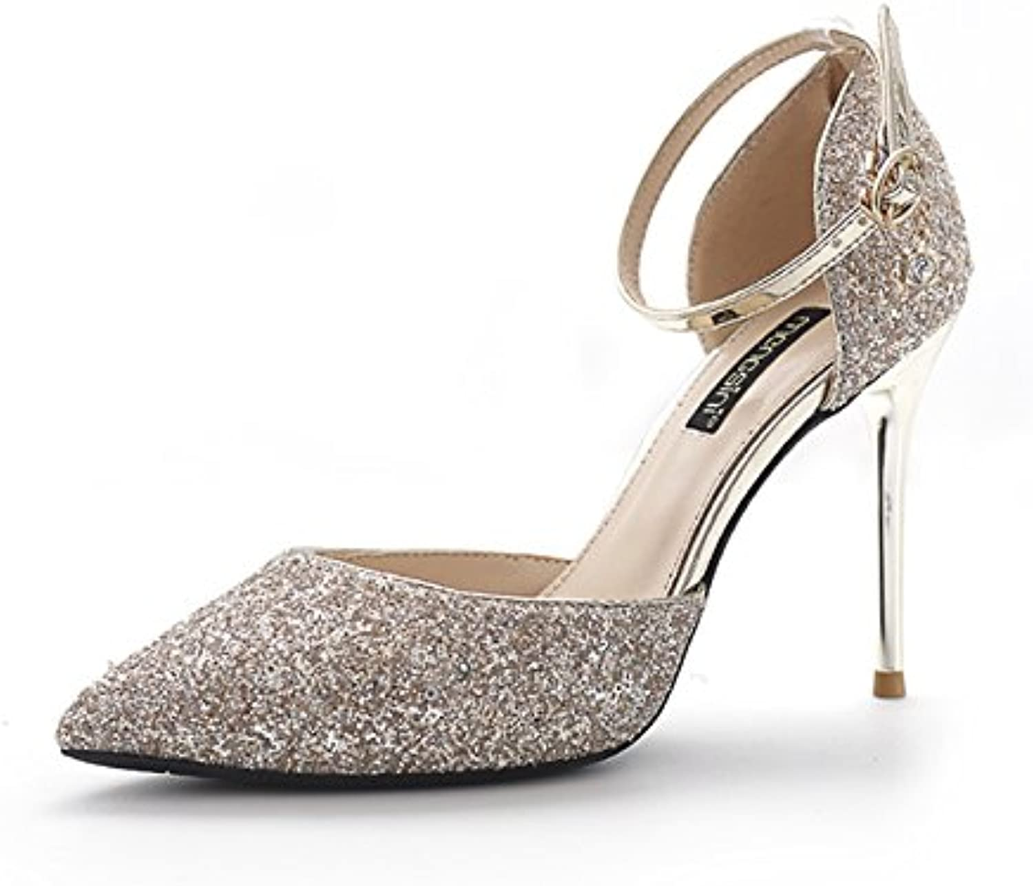 GAOLIM Fine Heel Silver High Heel shoes Summer Sequel Hollow High Heels Wedding shoes With A Word With Sandals