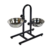 Double dog feeder bowl Large Dog Bowls Easy to put together Adjustable heights Dimensions in cm H51 W46 D24 Dog Bowls H8 W24 D24