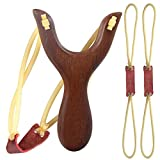 POPLAY Wooden Slingshot Classic Aiming Catapult Toy for Outdoor Hunting Competition (Wood 1 x Slingshot and 2 x Rubber Bands)