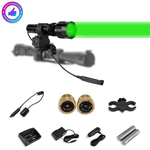 LUMENSHOOTER LS250 Long Range Hunting Light Kit,Green Red White Interchangeable LED Modules,High Power Rechargeable Night Vision Spotlight,Predator Flashlight Torch for Coon Coyote Hog Fox and Varmint