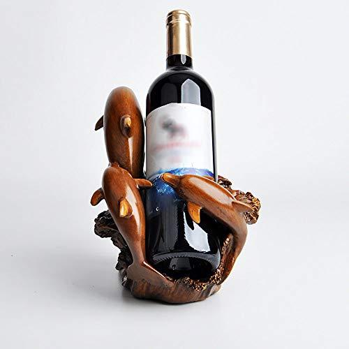 Figurillas Decorativas,Resina Muebles para El Hogar Artesanías De Bronce De Imitación Delfín Estante De Vino Decoración Estante De Vino De Animales Sala De Estar B