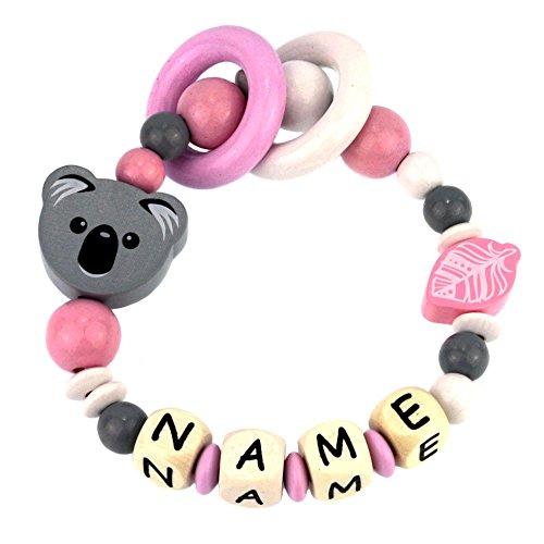 Premium Greifling mit Namen HOLZ Rassel Modell Koala grau rosa